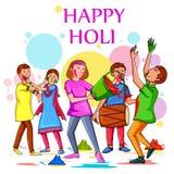 Indische Leute, die Farbfestival von Indien Holi feiern vektor abbildung