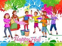 Indische Leute, die Farbfestival von Indien Holi feiern lizenzfreie abbildung