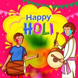 Indische Leute, die Farbfestival von Indien Holi feiern stock abbildung