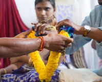 Indische Leute empfingen Blumengirlande vom Priester Lizenzfreies Stockbild
