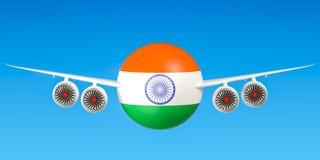 Indische luchtvaartlijnen en flying& x27; s, vluchten aan het concept van India 3D rende Royalty-vrije Stock Foto's
