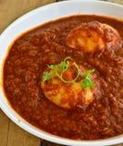 Indische Mahlzeit mit Eicurry stockfotografie
