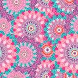 Indische mandala kleurde naadloos patroon Vector illustratie Stock Fotografie