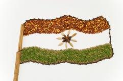 Indische Markierungsfahne angezeigt in den Gewürzen Stockfoto