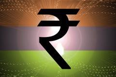 Indische Markierungsfahnen-Rupie Stockfoto