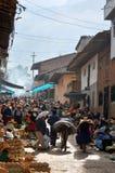 Indische markt in de noordelijke Andes van Peru Stock Afbeeldingen