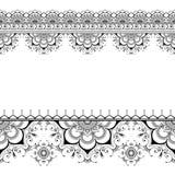 Indische mehndi Hennastrauchgrenzblumenmuster-Elementkarte für Tätowierung auf weißem Hintergrund Lizenzfreie Stockbilder
