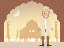 Indische mens in de moskee royalty-vrije illustratie