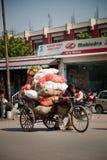 Indische mens die plantaardige zakken op handkar draagt Stock Fotografie