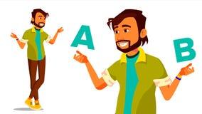 Indische Mens die A vergelijken met B-Vector Creatief idee Het in evenwicht brengen Klantenoverzicht Vergelijk Voorwerpen, Aankop Royalty-vrije Stock Afbeelding