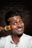 Indische mens met penseel Royalty-vrije Stock Foto