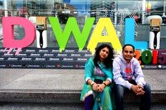 Indische mensen die Diwali-festival in Auckland, Nieuwe Zealan vieren Royalty-vrije Stock Foto's