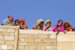 Indische mensen in Woestijnfestival in Jaisalmer, Rajasthan, India Royalty-vrije Stock Fotografie