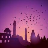 Indische monumenten op zonsondergang vector illustratie