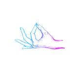 Indische mudra spirituality yoga Vectorhand getrokken affiche, malplaatje, druk vector illustratie