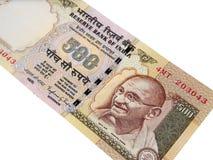 Indische munt 500 Roepie geannuleerd bankbiljet, India verboden geld stock foto's