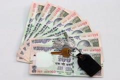 Indische munt van 100 Roepiesnota's Royalty-vrije Stock Afbeelding