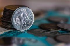 Indische muntmuntstukken royalty-vrije stock foto's