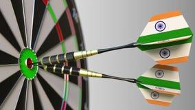 Indische nationale voltooiing Vlaggen van India op pijltjes die bullseye raken Het conceptuele 3d teruggeven Stock Afbeelding