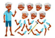 Indische Oude Mensenvector Hogere persoon Oude, Bejaarde Mensen Vrije tijd, Glimlach Gezichtsemoties, Diverse Gebaren animatie royalty-vrije illustratie