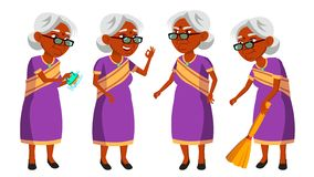 Indische Oude Vrouw in Sari Vector Bejaarde mensen hindoes Aziatisch Hogere persoon oud Actieve Grootouder vreugde web vector illustratie