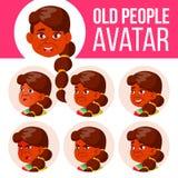 Indische Oude Vrouwenavatar Vastgestelde Vector Zie Emoties onder ogen Hoger Person Portrait Bejaarde mensen oud Hoofd, Pictogram royalty-vrije illustratie