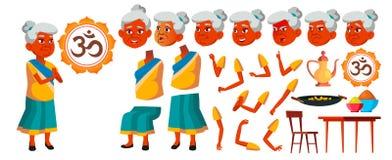 Indische Oude Vrouwenvector Hoger Person Portrait Bejaarde mensen oud De Reeks van de animatieverwezenlijking Gezichtsemoties, Ge stock illustratie