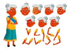 Indische Oude Vrouwenvector Hogere persoon Oude, Bejaarde Mensen positief Gezichtsemoties, Diverse Gebaren animatie vector illustratie