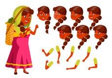 Indische Oude Vrouwenvector Hogere persoon Oude, Bejaarde Mensen Positieve persoon Theeplukker Diverse gezichtsemoties, royalty-vrije illustratie