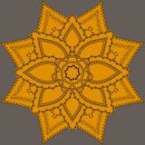 Indische overladen mandala Doily om kantpatroon, cirkelachtergrond met vele details, Royalty-vrije Stock Fotografie