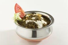 Indische plantaardige Spinazie met kwark met rauwe groenten stock afbeelding
