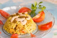 Indische rijstschotel, vegetariër Stock Foto's
