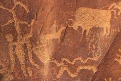 Indische rotstekeningen, het Historische Monument van de Staat van de Krantenrots, Utah, de V.S. Stock Afbeelding