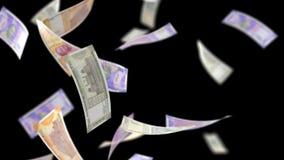 Indische Rupien Geld, dieauf Schwarzes mit Luma Matte Seamless Loop 4K fallen stock video footage