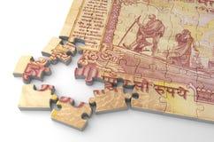 Indische Rupien-Puzzlespiel Stockbild