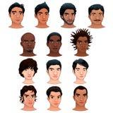 Indische, Schwarze, asiatische und Latinomänner. Lizenzfreies Stockfoto