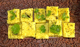 Indische Snacks Dhokla Stock Foto