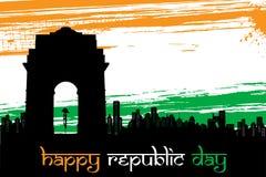 Indische Stad scape op grungy Achtergrond Tricolor Stock Afbeeldingen