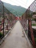 Indische stads kleine brug in steden stock foto