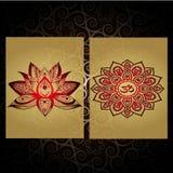 Indische Stijl Mandalatatoegering Meditatie en ontspanning Royalty-vrije Stock Foto's