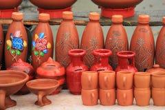 Indische tönerne Töpfe des roten Schlammes Lizenzfreie Stockbilder