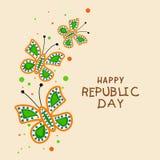 Indische Tag der Republik-Feier mit dreifarbigen Schmetterlingen Stockbild
