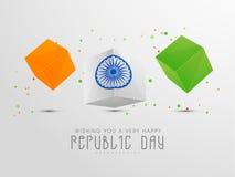 Indische Tag der Republik-Feier mit dreifarbigen Würfeln Stockbild
