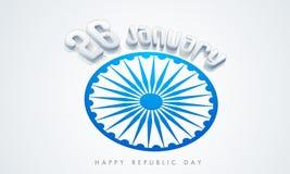 Indische Tag der Republik-Feier mit Text 3D und Ashoka drehen sich Stockbild