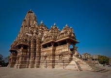 Indische tempel in Khajuraho Stock Afbeeldingen