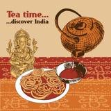 Indische theepot en kop Stock Afbeelding