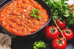 Indische Tomate Rasam mit Linse, Minze, Koriander und Acajoubaum Lizenzfreies Stockbild