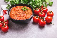 Indische Tomate Rasam mit Linse, Minze, Koriander und Acajoubaum Stockbild