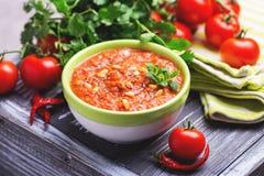Indische Tomate Rasam mit Linse, Minze, Koriander und Acajoubaum Lizenzfreie Stockfotografie