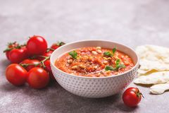 Indische Tomate Rasam mit Linse, Minze, Koriander und Acajoubaum Lizenzfreie Stockbilder